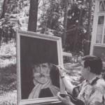 Муслим Магомаев за работой над портретом Джузеппе Верди